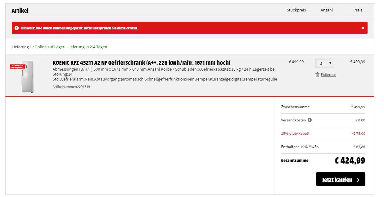 Fur MM Club Neumitglieder Gefrierschrank Koenic KFZ 45211 A2 NF