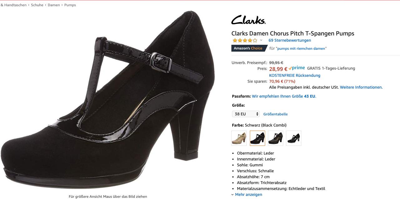 Amazon Prime ) div.Größen Clarks Damen Chorus Pitch T