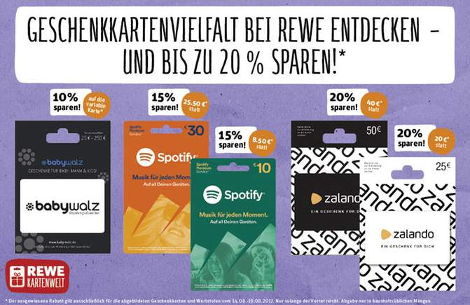 bis zu 20 rabatt auf zalando spotify babywalz geschenkkarten rewe. Black Bedroom Furniture Sets. Home Design Ideas