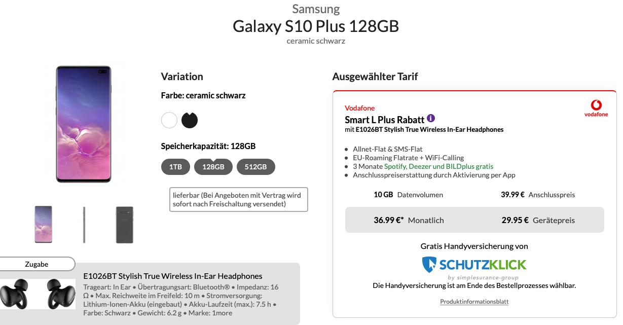 Samsung Galaxy S10 Plus & BT Kopfhörer für 29,95€ Zuzahlung im Vodafone Smart L+ (10GB / 15GB LTE) für mtl. 36,99€