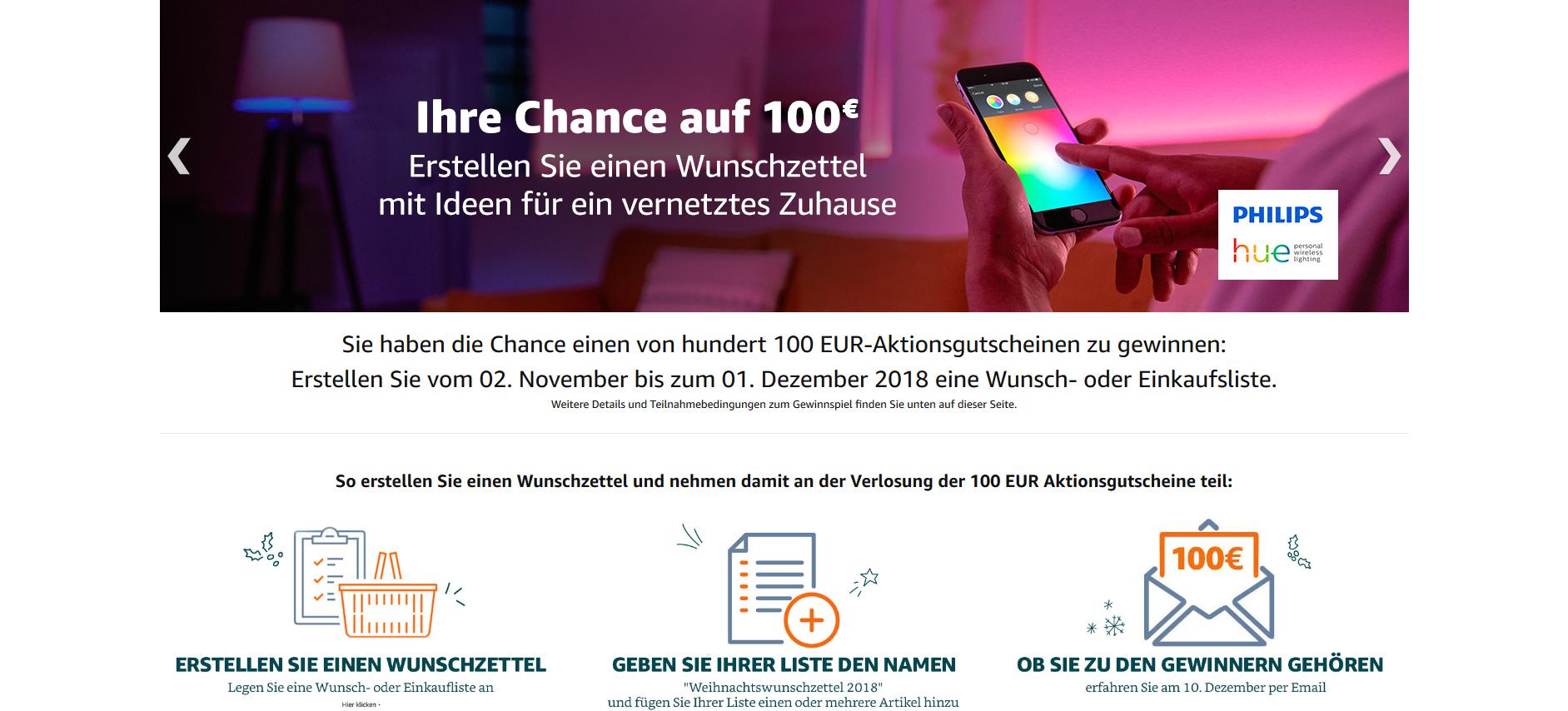 www.AMAZON.de l Chance einen von hundert 100 EUR-Aktionsgutscheinen ...