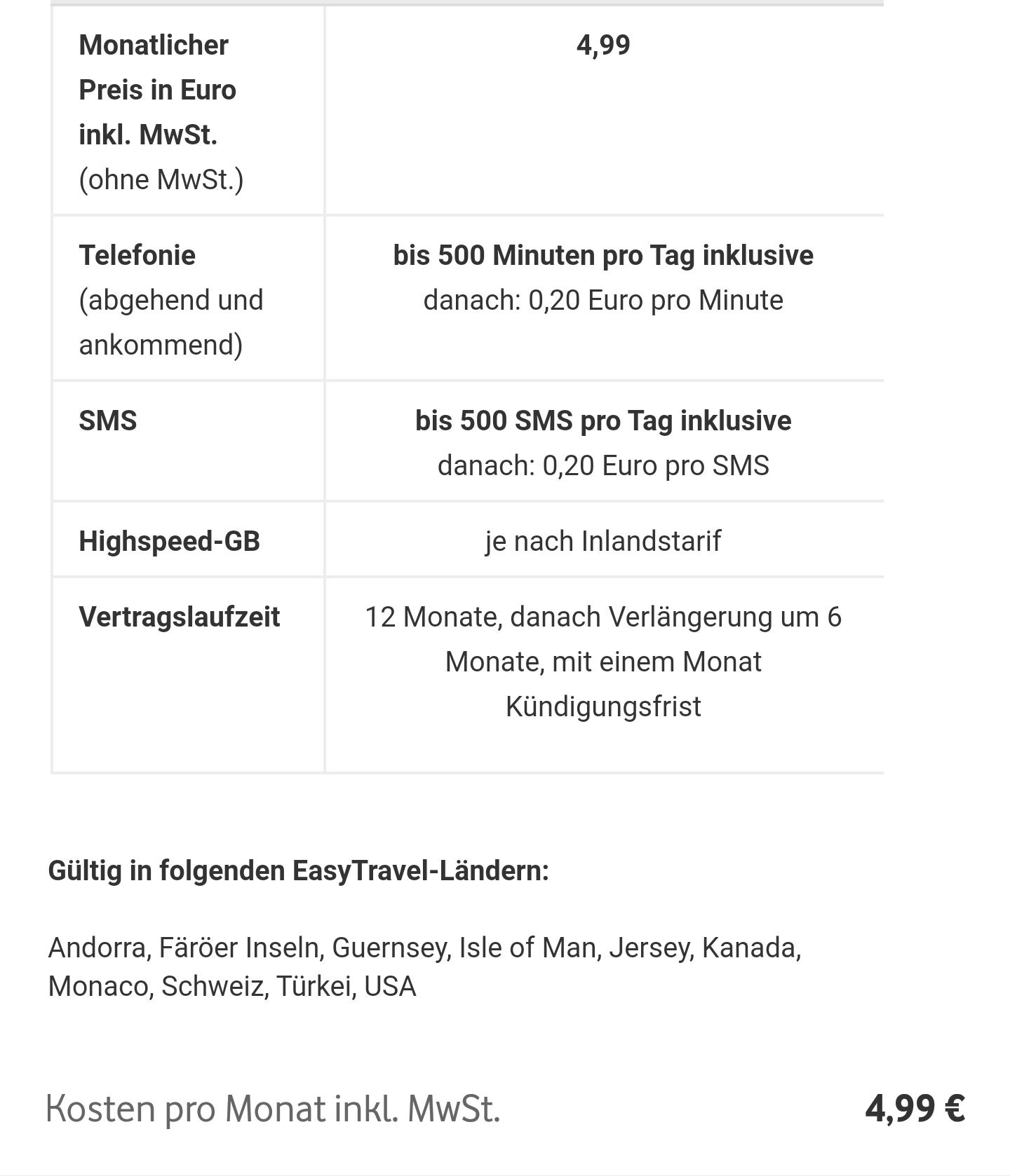 Vodafone Easy Travel Flat wieder verfügbar (USA, Schweiz, Türkei, ...)