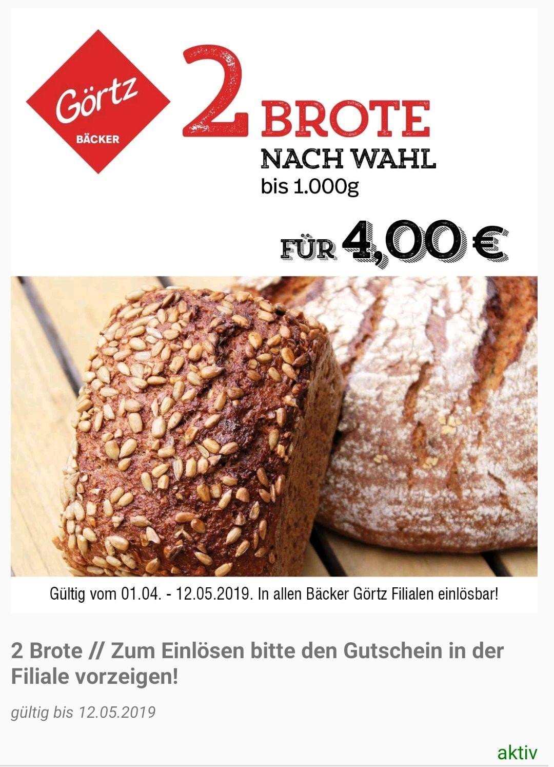 bfcca6e0f3 Bäckerei Görtz AppGutscheine: Kaffe/Tee nach Wahl 1,50€/2×Brot 4€/3 ...