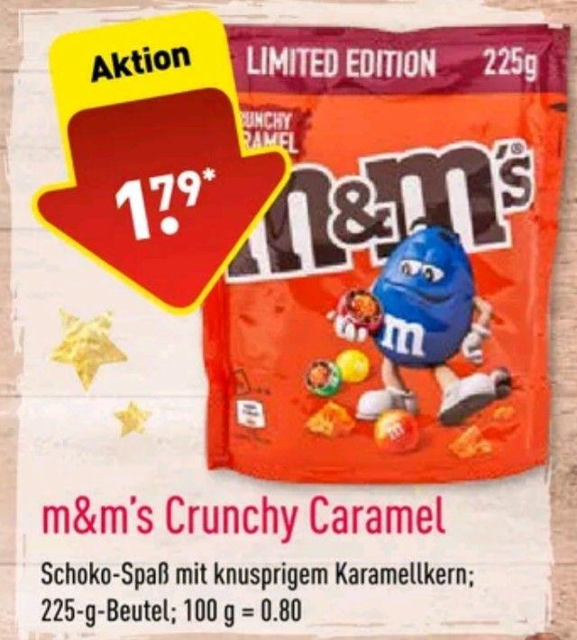 m m s limited edition crunchy caramel in der 225g packung gibt es bei aldi ab dem 12 11 fur nur 1 79 zuletzt waren sie in der abpackung fur 1 99 hier