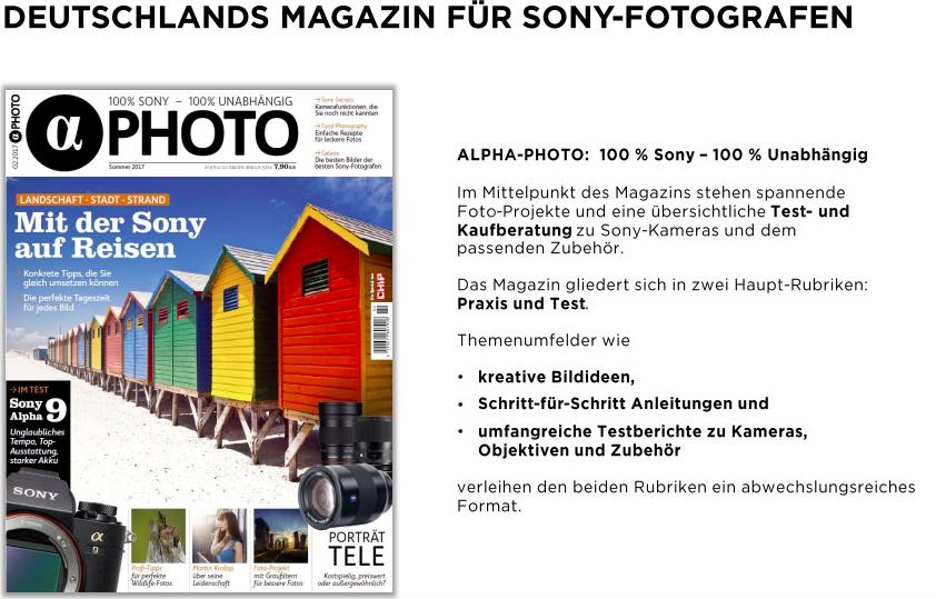 3 ausgaben alpha photo magazin f r 14 95 mit 10 amazon gutschein. Black Bedroom Furniture Sets. Home Design Ideas