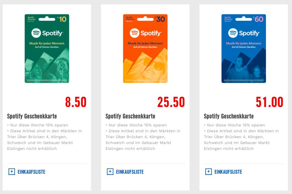 spotify karte Edeka & Marktkauf] 15% auf alle Spotify Prepaid Karten   mydealz.de