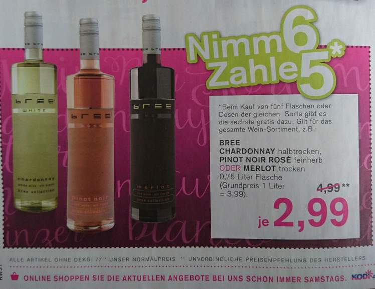 special for shoe good service factory authentic Bree Wein Chardonnay, Pinot Noir Rosé oder Merlot: 6 ...