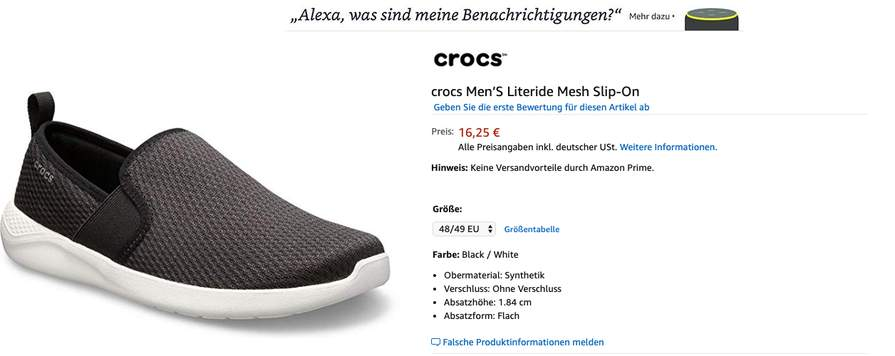 big sale 73e4a b51e1 Amazon ) Gr.39-49 Crocs Men'S Literide Mesh Slip-On - mydealz.de