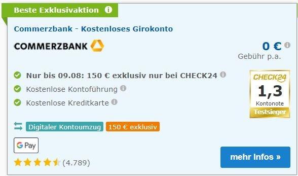 Commerzbank 150 Euro Startguthaben