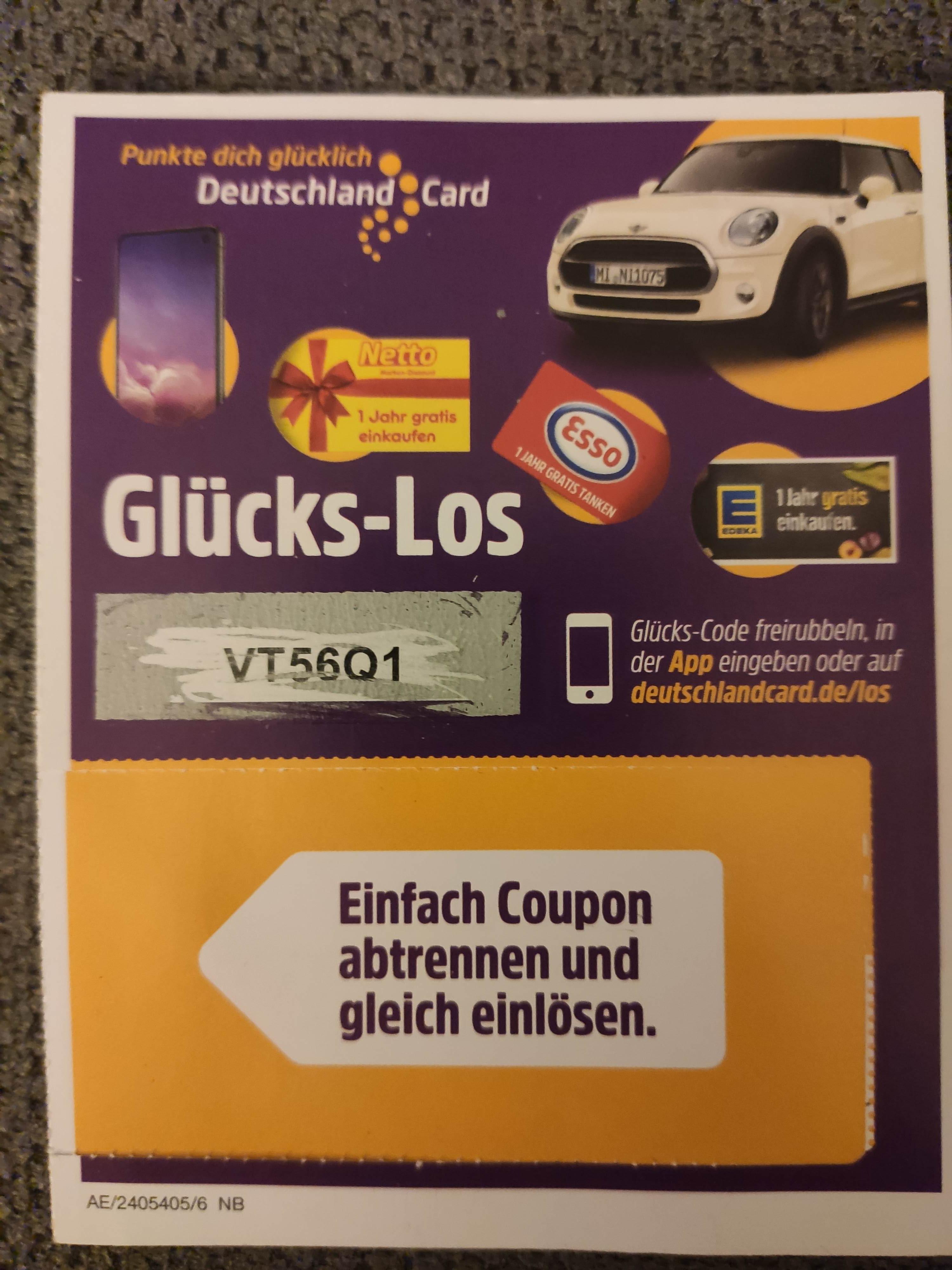 deutschlandcard.de glückslos eingeben