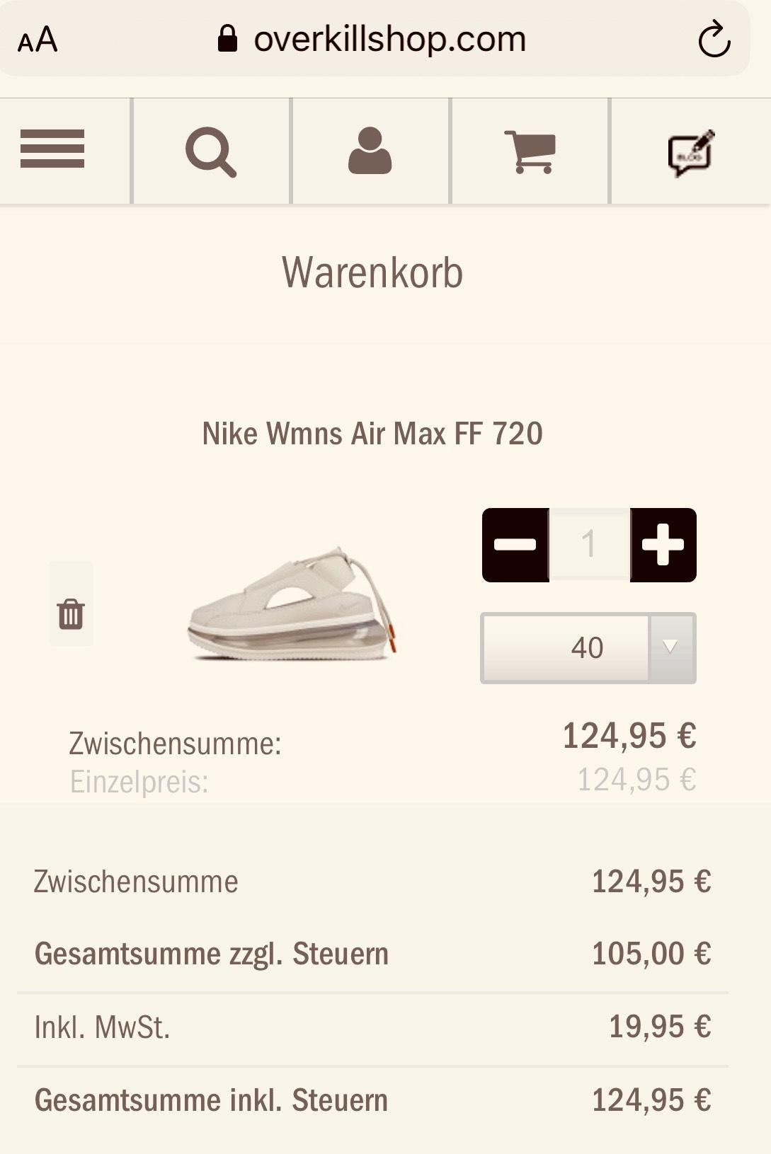 nur in Air FF Wmns Größe 40 Schuhe 720 Max Nike noch jpUVLSMGqz