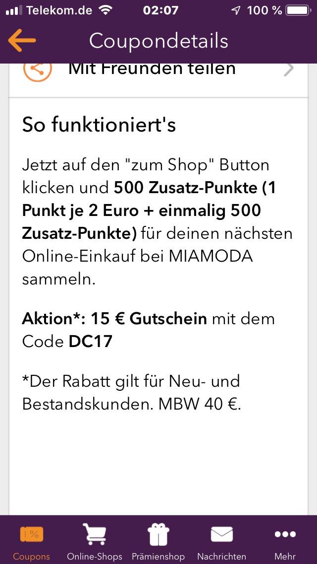 Deutschlandcard 500 Punkte Und Ein 15 Auf 40 Mbw Gutschein Bei