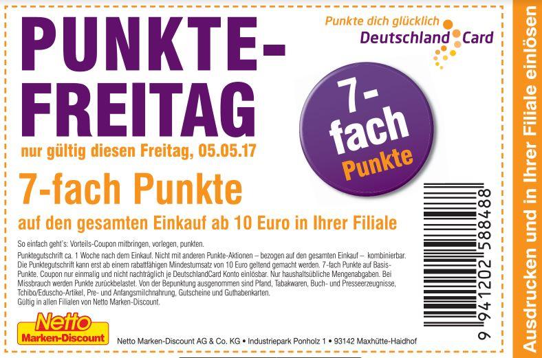 7 fach deutschlandcard punkte auf den gesamten einkauf ab 10 euro bei netto nur am freitag. Black Bedroom Furniture Sets. Home Design Ideas