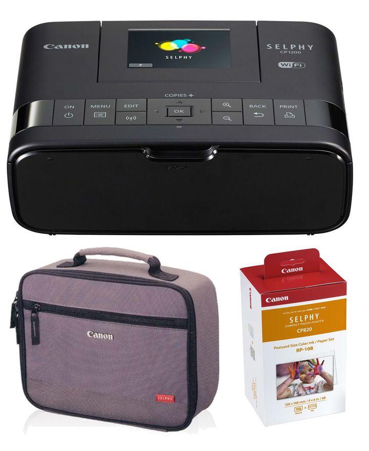 Fotodrucker Canon Selphy CP1200 + Tasche + Fotopapier für 108 Bilder