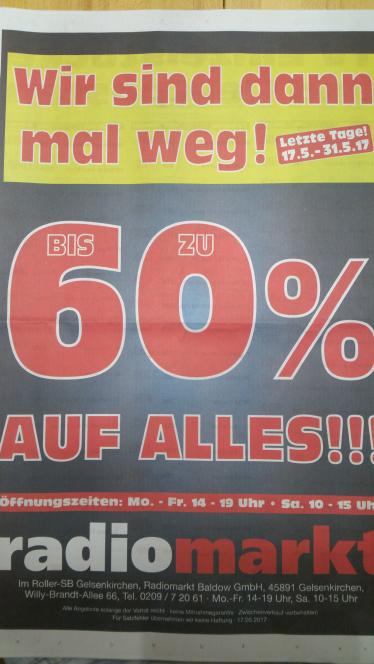 Lokal ( Gelsenkirchen ) bis zu 60 % auf Alles wegen Geschäftsaufgabe, nur noch bis zum 31.05.