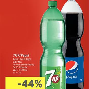 [Lidl am 27.05.] Pepsi & 7UP versch. Sorten 1,5l für 0,49€