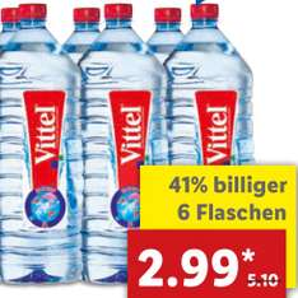 (Lidl) Vittel 6er-Pack für 2,99€, dank Cachback statt 0,85€ nun zum BESTPREIS von nur 0,38€ für die 2l-Flasche