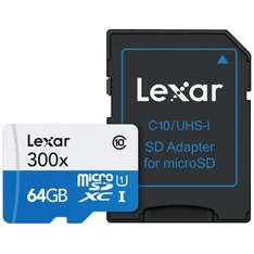 [mymemory.de] Lexar 64GB Class 10 MicroSDHC UHS-I 300x Speed 45MB/s High Speed Speicherkarte mit Adapter (300x)