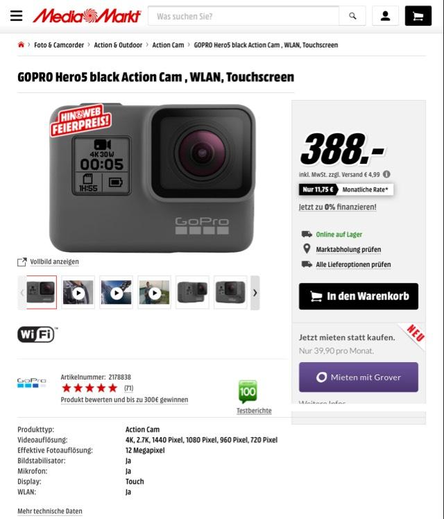 [Mediamarkt] GoPro Hero 5 Black, MediaMarkt Hin&Web Aktion, Versandkostenfrei für Clubmitglieder