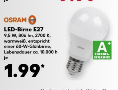 Kaufland OSRAM LED-Lampe E27 9,5 W, ersetzt 60 Watt,  warmweiß 2700 K, 806 LM
