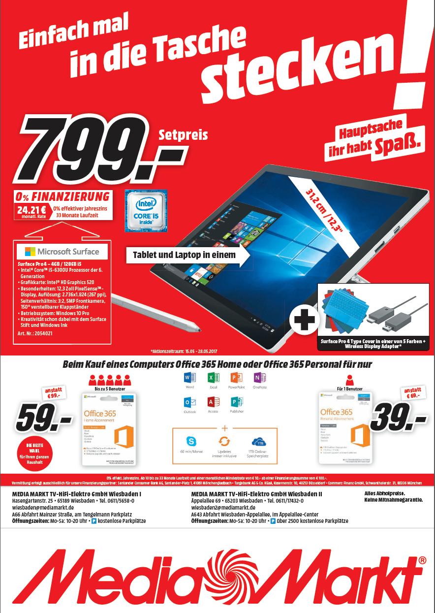 [ Lokal MM Wiebaden ] Surface Pro 4 mit I5 & 128GB Speicher inkl. Tastatur & Displayadapter für 799€