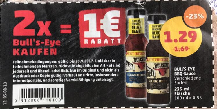 2 x Bull's-Eye BBQ Sauce 235 ml (die kleine Glasflasche) nur 1,58 € macht 79 Cent pro Flasche bei Penny und Sky