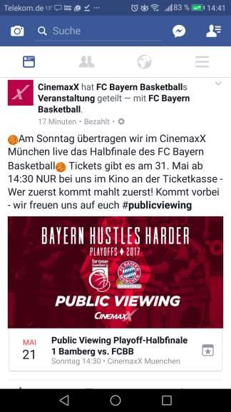 [lokal München] Kostenlos ins Kino: 160 Karten für BBL Playoff-Halbfinale 1 Bamberg vs. FCBB am 21. Mai um 14.30 Uhr