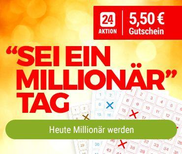 [Tipp24] Sei ein Millionär -  5,50€ Rabatt bei 12€ MBW (Neu+Bestandskunden)