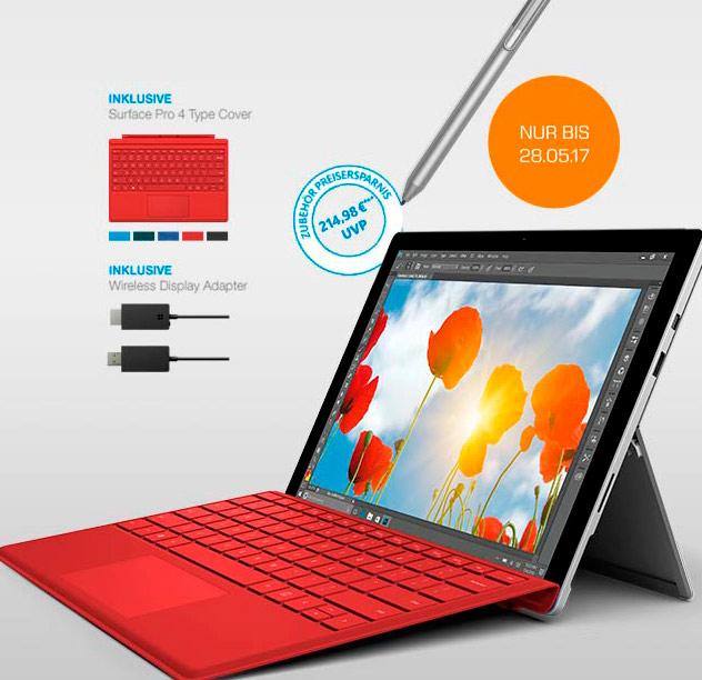 Surface Pro 4 m3 inkl. Typecover, Stift, Wireless Display Adapter für 749€