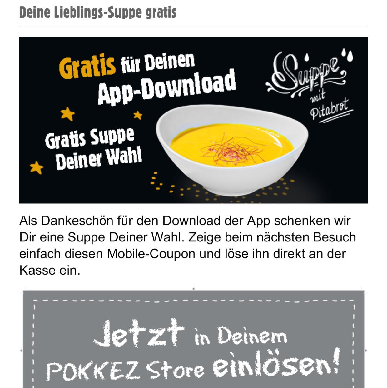 [Lokal Stuttgart] gratis Suppe mit Pitabrot bei Pokkez