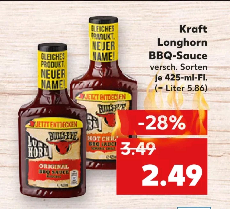2 x Kraft Longhorn BBQ Sauce 425 ml für 3,98€ (Kaufland)
