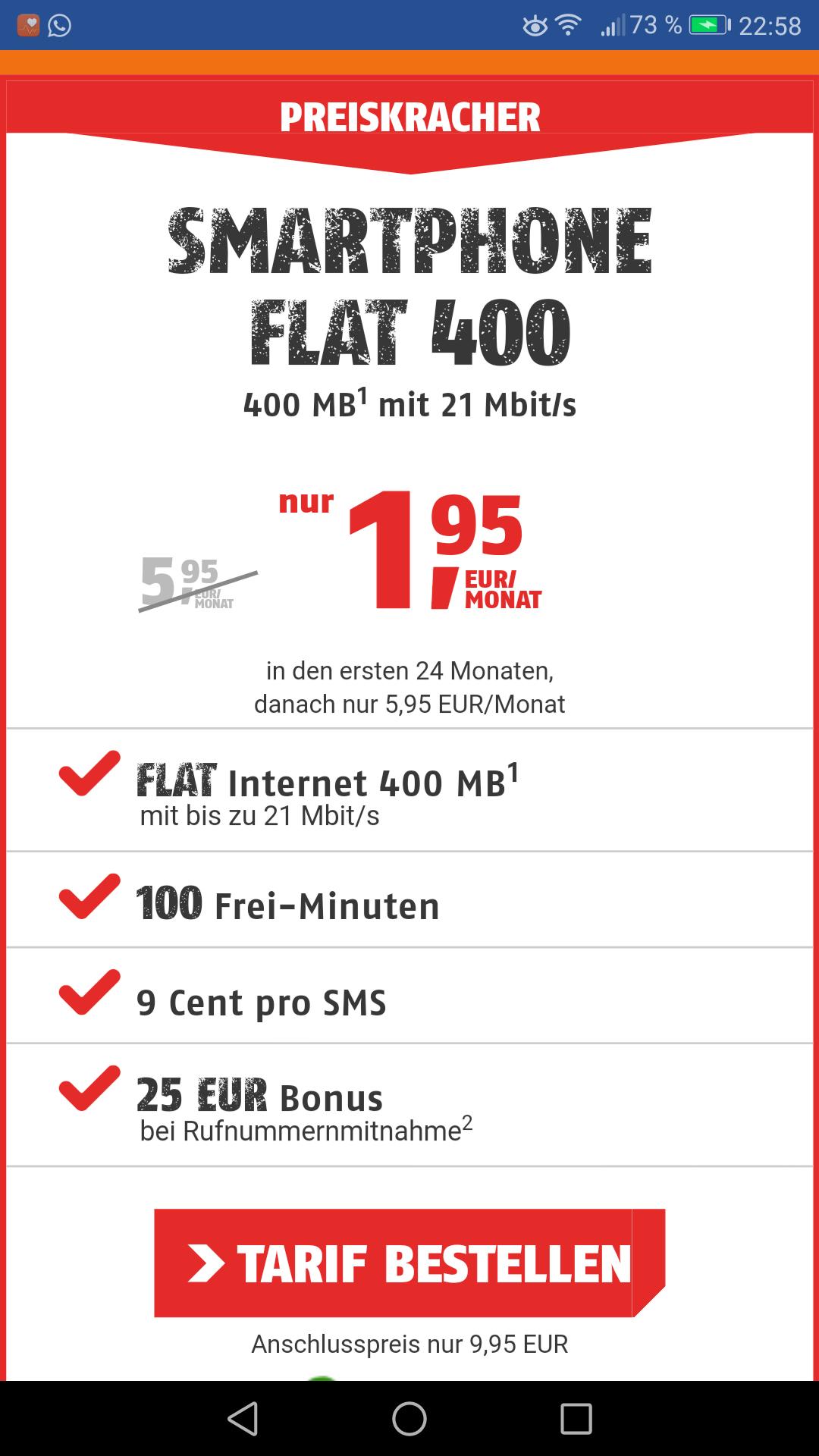 Klarmobil Handyvertrag 400Mb D-Netz