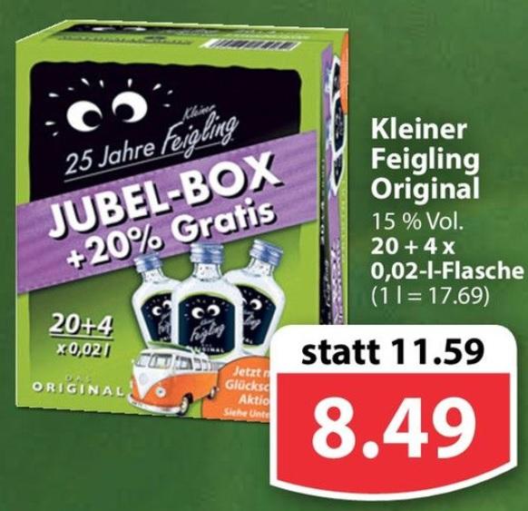[famila Nordwest] Kleiner Feigling 24x 0,02l Jubelbox inkl 24 Gewinncodes für 8,49€