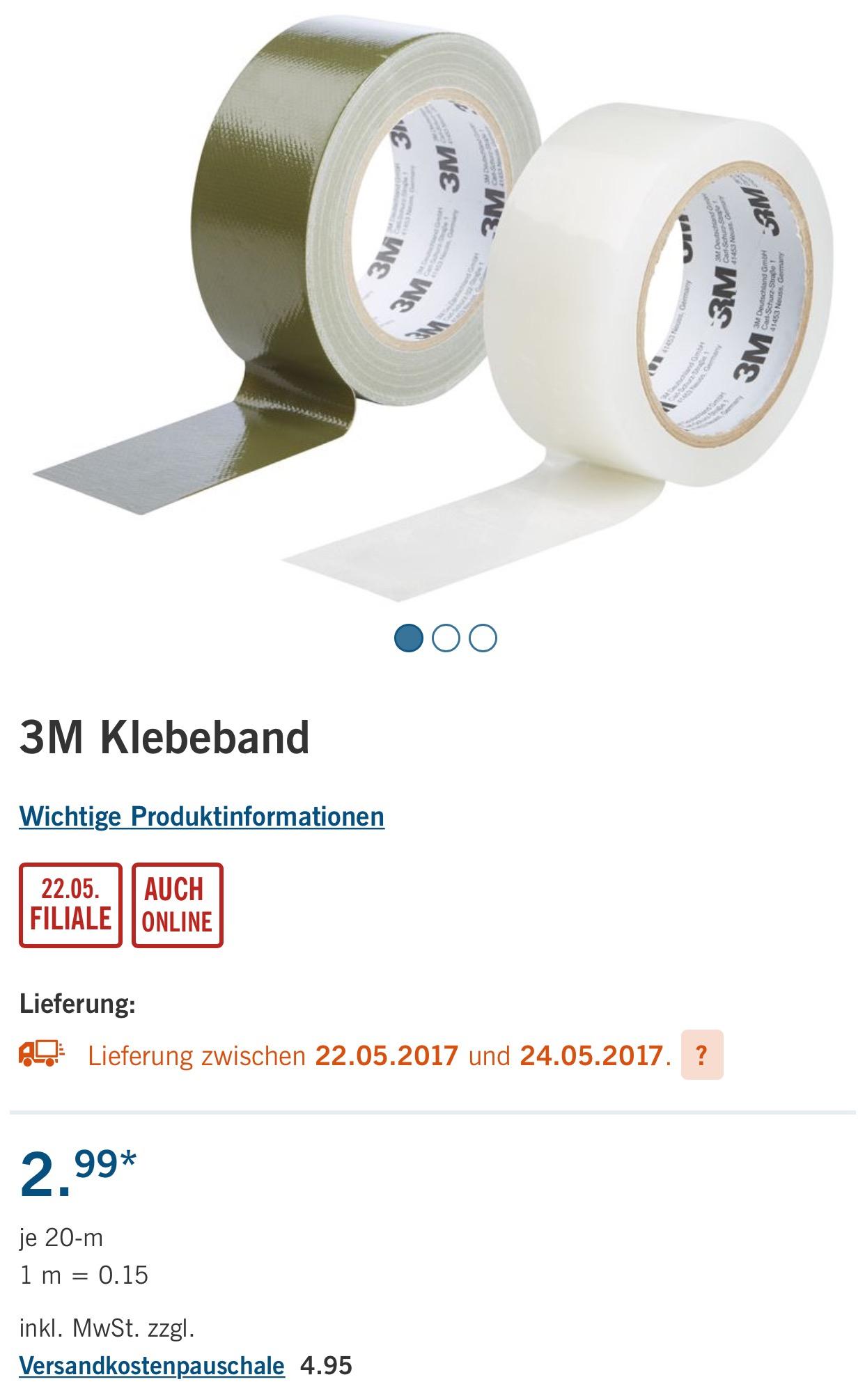 3M Allwetter- oder Outdoor-Gewebeklebeband 20m für 2,99€ [Lidl]
