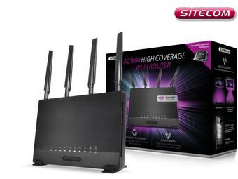 Sitecom WLR-9000 AC1900 Wi-Fi Router, Windows, Apple, Android, Frequenz: 2,4 GHz und 5 GHz, 4×10/100/1000-Mbit/s-LAN-Anschlüsse, 1×10/100/1000 Mbit/s-WAN-Anschluss, 1xUSB 3.0-Anschluss, 1×USB 2.0-Anschluss [IBOOD]