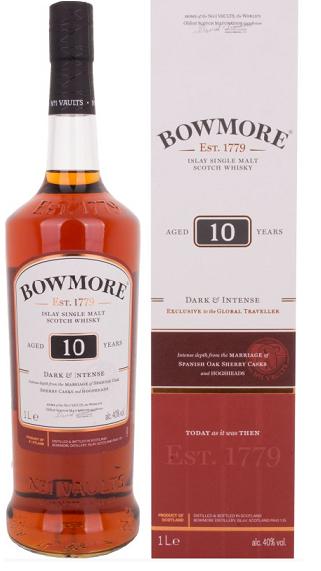 Whisky - Bowmore 10 Jahre Dark & Intense 1 Liter - 24,99€ (Grenzgänger CZ Travel-Free-Shop)