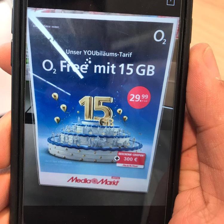 O2 Jubiläums Angebot 15GB allnet + 300€