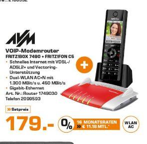 [Lokal Saturn Stuttgart ab 26.05] AVM FRITZ!Box 7490 WLAN Router mit integriertem DSL Modem + AVM FRITZ!Fon C5 Dect-Schnurlostelefon Babyfon-Funktion Anrufbeantworter (Schwarz) für zusammen 179,-€***MX Master Maus für 39,-€ etc.