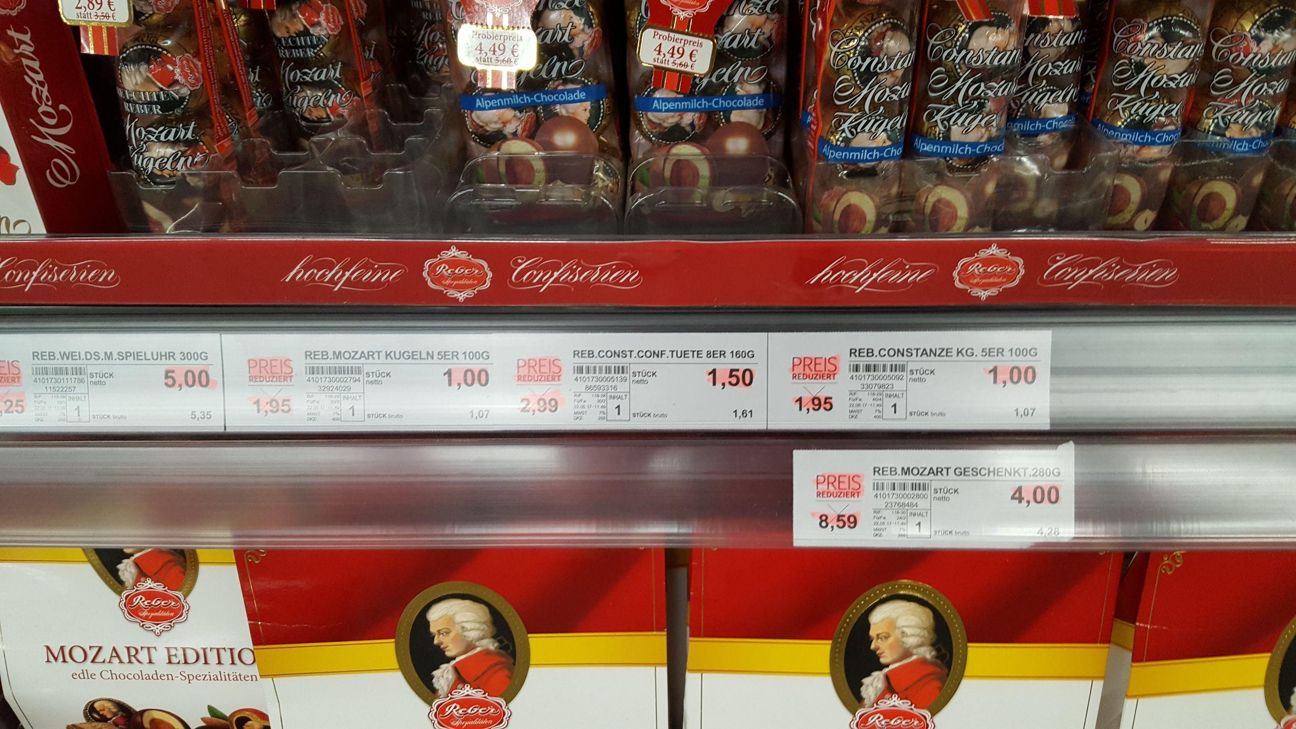 [Lokal - Großhandel] Reber Pralinen Ersparnis ca. 70 %, z.B. Mozartkugeln (SELGROS Ingolstadt)