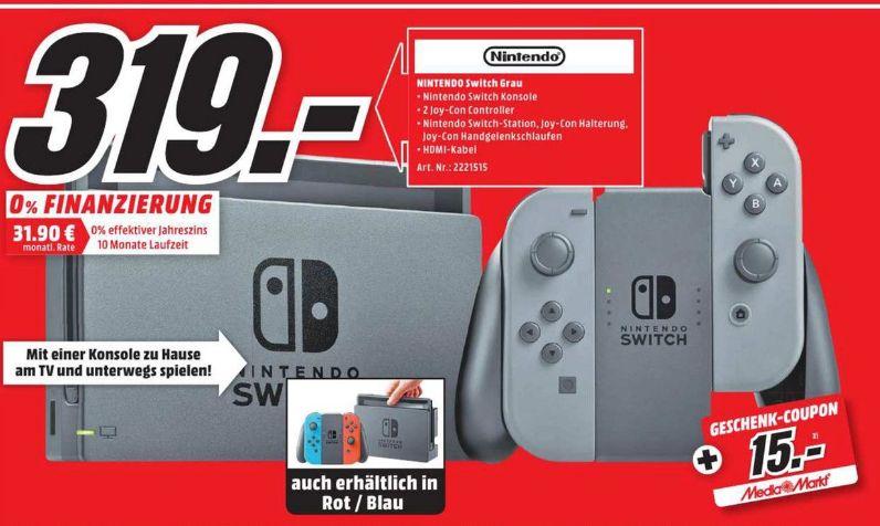 [Lokal Mediamarkt Jena] Nintendo Switch Neon-Rot/Neon-Blau oder Grau für je 319,-€ inc. 15,-€ Geschenk-Coupon