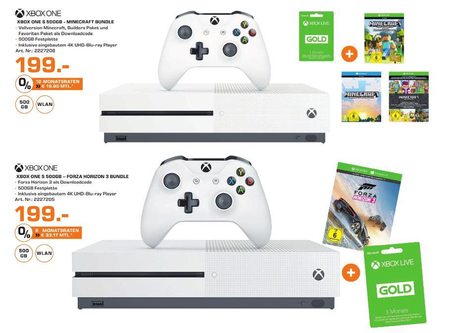 [Lokal Saturn Passau] Xbox One S (500GB) Minecraft Bundle inc. 3 Monate XBox Live Gold oder Xbox One S (500GB) Forza Horizon 3 Bundle inc. 3 Monate Xbox Live Gold für je 199,-€