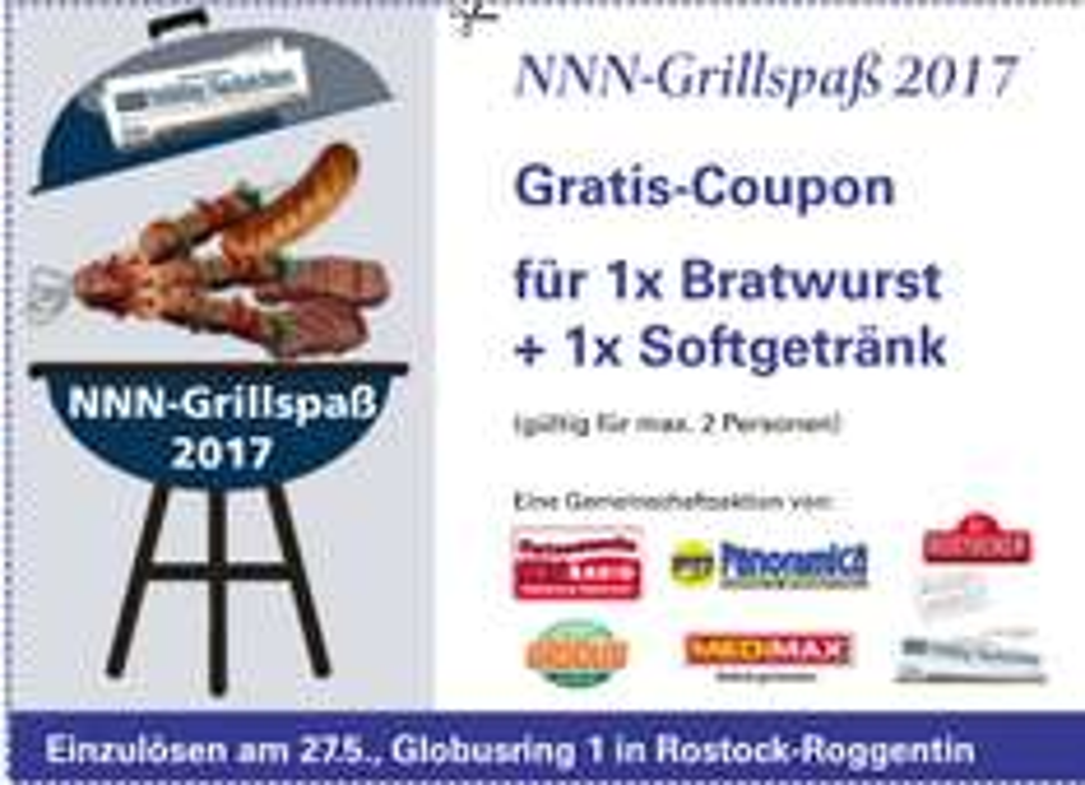 [Rostock] Gratis Bratwurst + Softgetränk beim NNN-Grillspaß [2] am 27.05.17