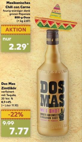 Kaufland Dos Mas Zimtlikör mit Tequila  0,7 Liter