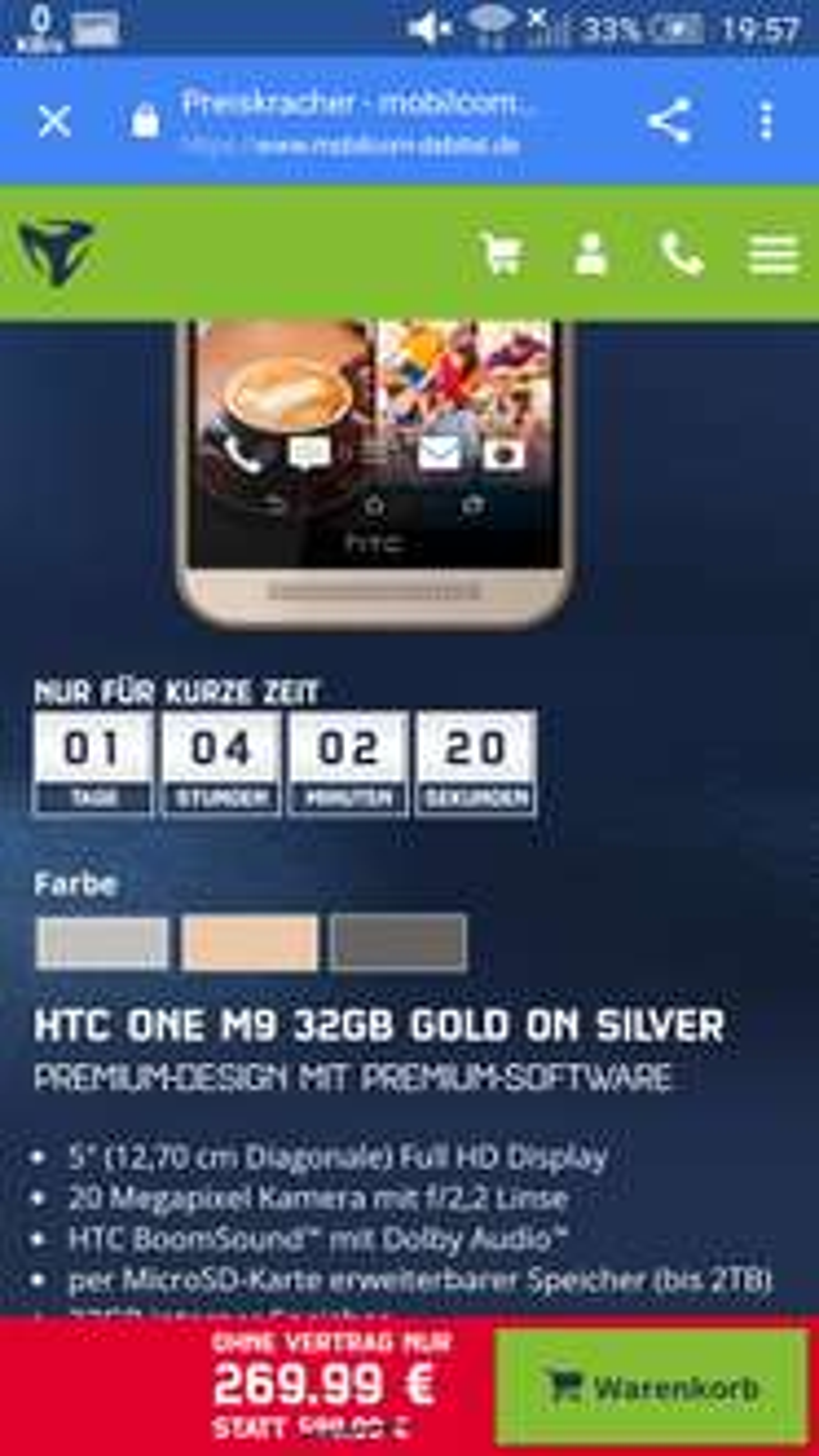 HTC One M9 inklusive Schutz Folie