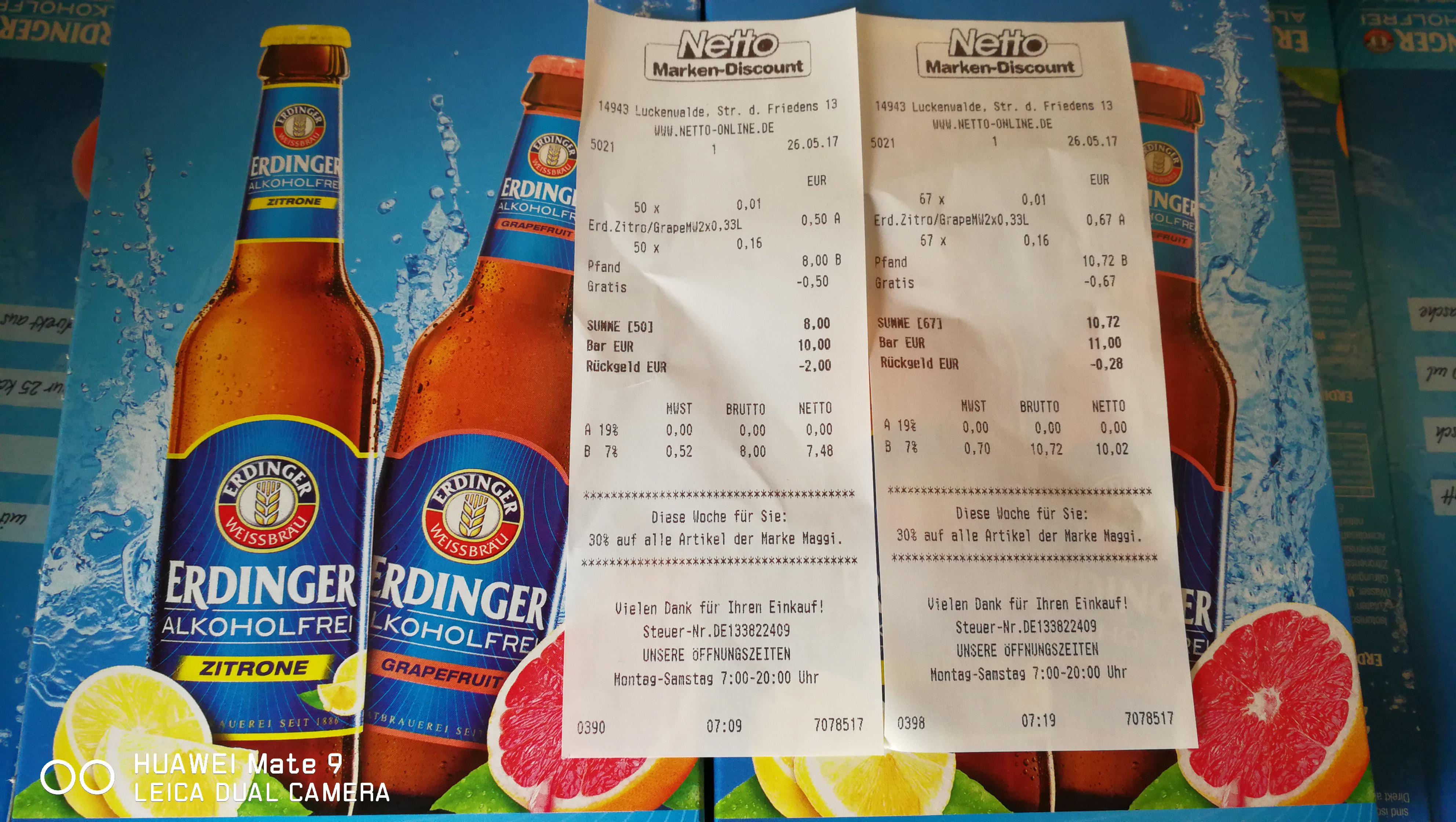 """(Restposten) """"Gratis"""" Erdinger Alkoholfrei Zitrone / Grapefruit (Netto Marken-Discount - der ohne Hund)"""
