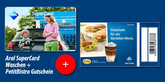 """""""Aral SuperCard Waschen"""" + Gutschein  Petit Bistro"""