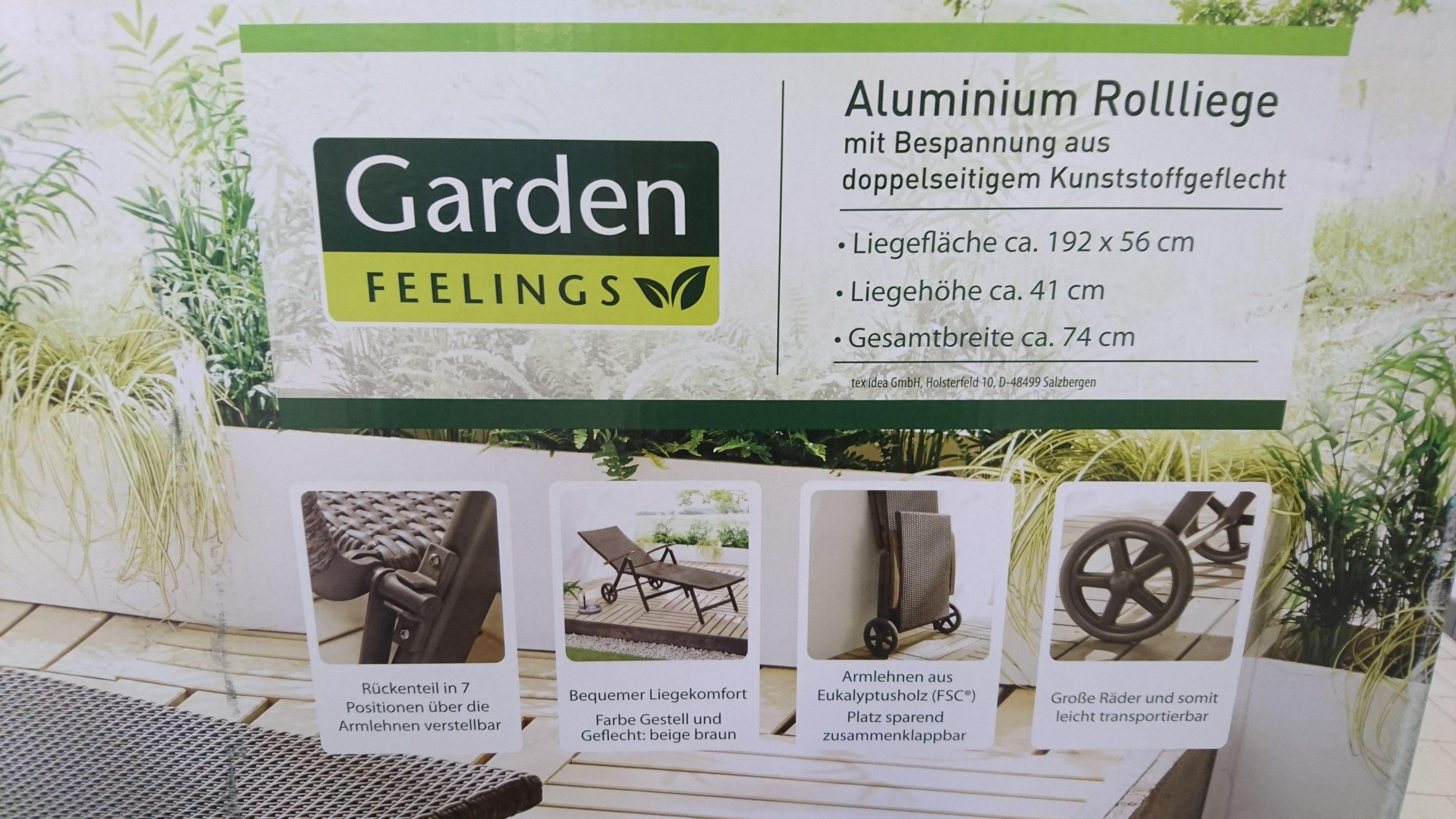 [Lokal Aldi Nord Mettmann - Metzkausen] Alu-Liege Garden Feelings (5-fach verstellbar, Gestell anthrazit)