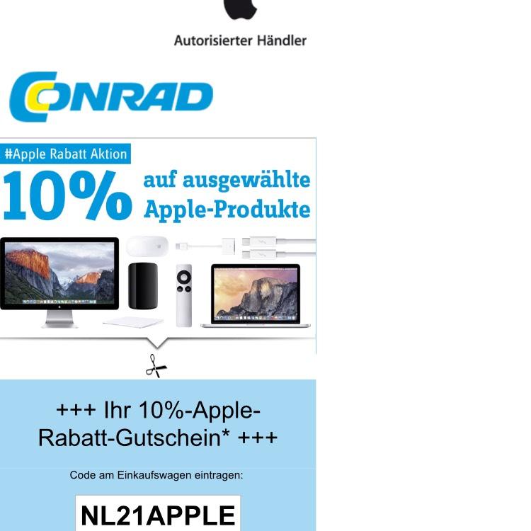 Conrad 10 % Rabatt auf ausgewählte Apple Produkte mit dem Code NL21APPLE