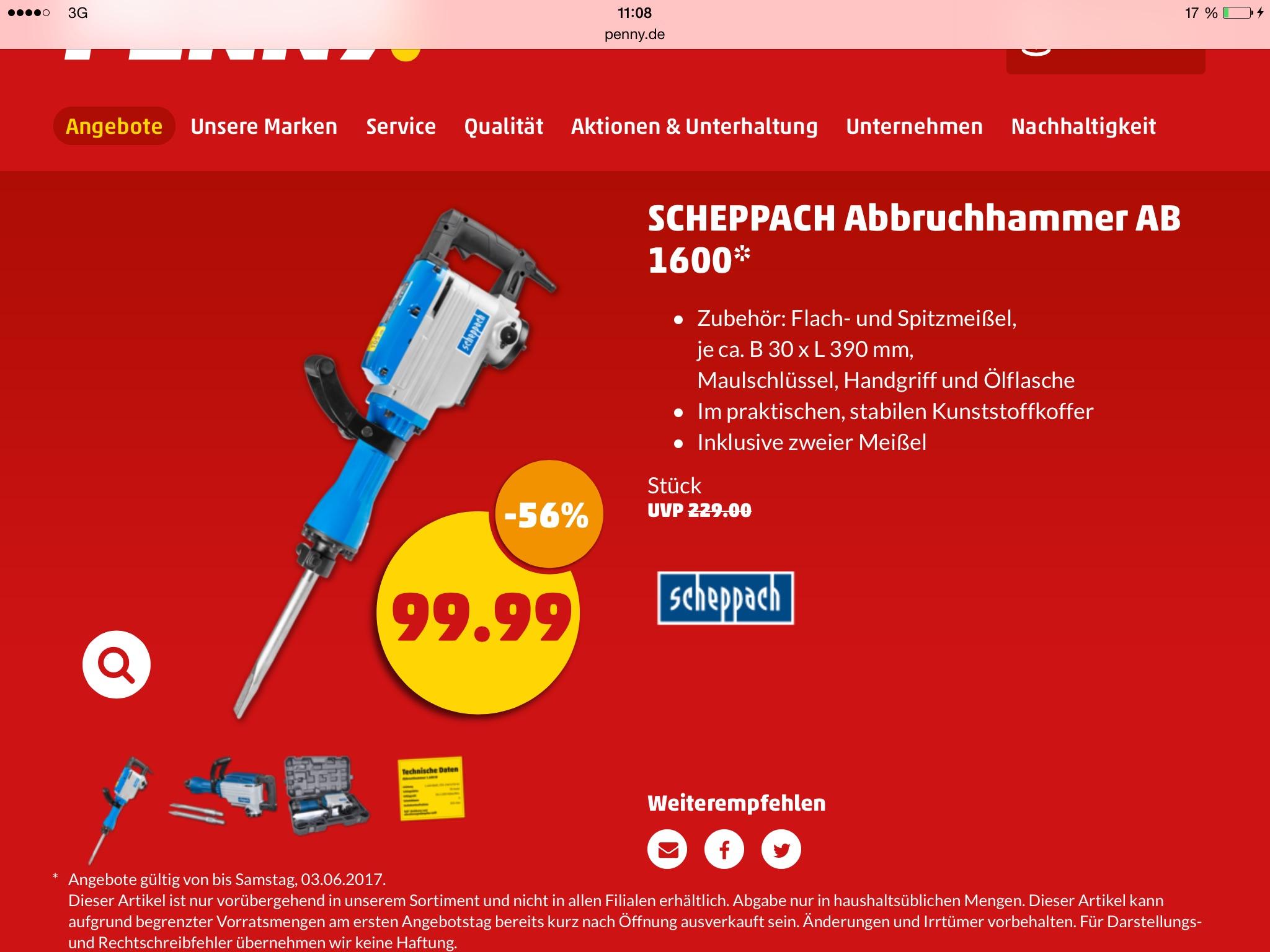[ Penny ] Scheppach Abbruchhammer AB 1600 im Metallkoffer inkl. 2-tlg Meisel