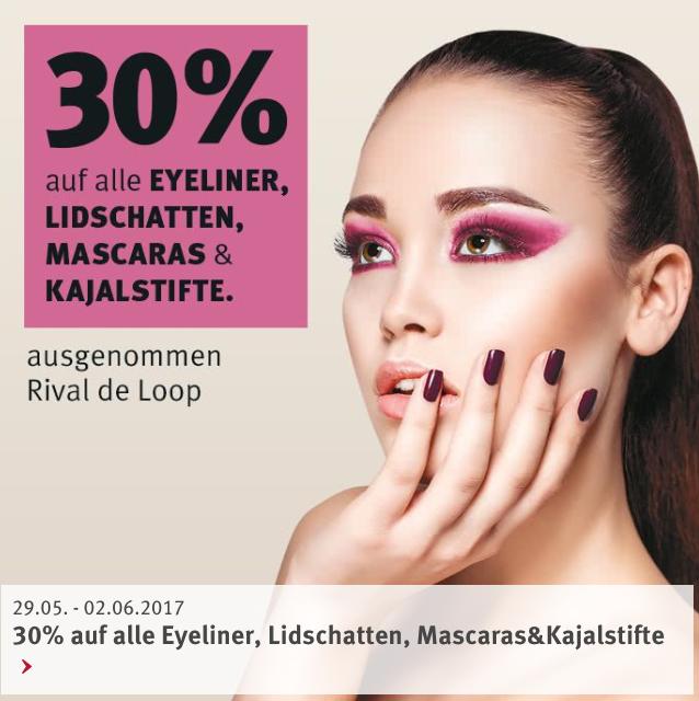 30% Rabatt (+10% mit App) auf ALLE Eyeliner, Lidschatten, Mascaras und Kajalstifte bei Rossmann (ausg. Rival de Loop)
